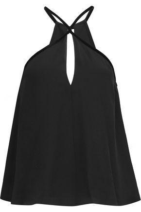 ALEXIS Selita velvet-trimmed silk halterneck top