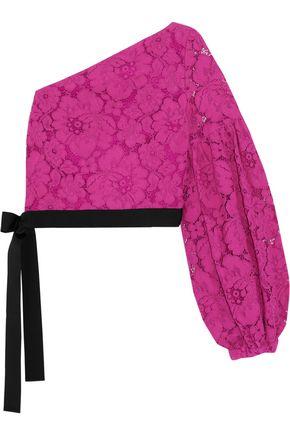 ALEXIS Toby one-shoulder cotton-blend  guipure lace top