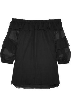 SONIA RYKIEL Off-the-shoulder ruffled silk-georgette blouse
