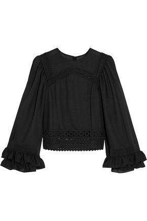 McQ Alexander McQueen Broderie anglais-trimmed ruffled gauze blouse