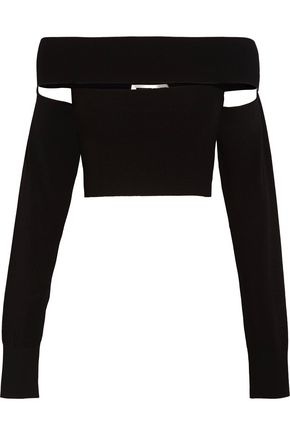 McQ Alexander McQueen Off-the-shoulder stretch-knit top