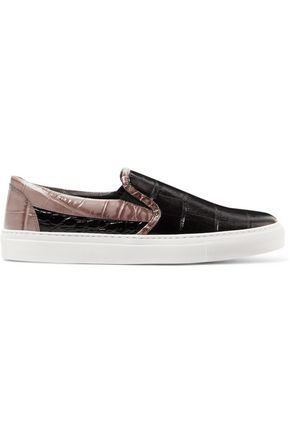 SONIA RYKIEL Croc-effect leather slip-on sneakers