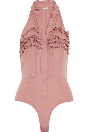 FLEUR DU MAL Ruffled silk-crepe and jersey bodysuit