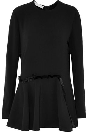 STELLA McCARTNEY Patrizia fringed satin-trimmed pleated crepe top
