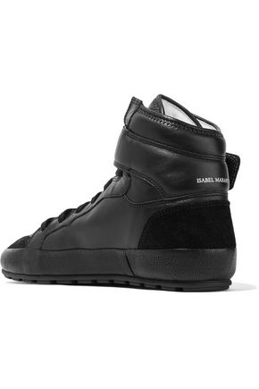 ISABEL MARANT ÉTOILE Bessy two-tone suede-trimmed leather high-top sneakers