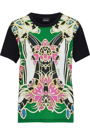 JUST CAVALLI Printed crepe-paneled jersey T-shirt