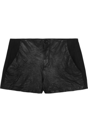 RAQUEL ALLEGRA Leather-paneled jersey shorts