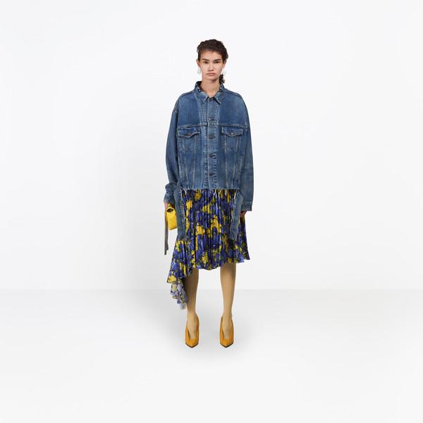 BALENCIAGA Denim Woman Cut Waistband Jacket g