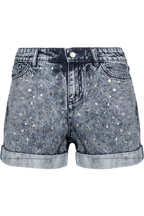 ALICE + OLIVIA Crystal-embellished bleached denim shorts