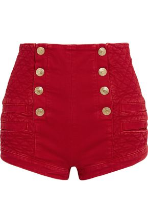 PIERRE BALMAIN Quilted button-detailed denim shorts