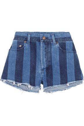 SAINT LAURENT Two-tone denim shorts