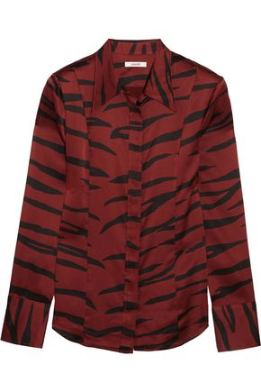 GANNI Zebra-print silk-blend satin shirt