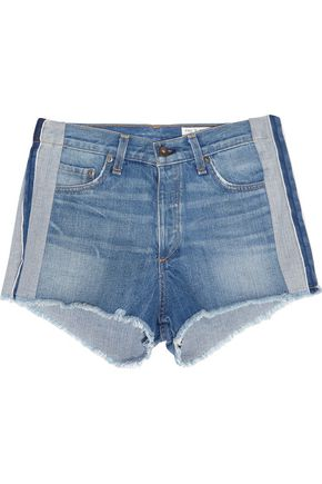 RAG & BONE/JEAN Frayed paneled denim shorts