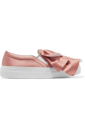 JOSHUA SANDERS Ruffled satin slip-on sneakers