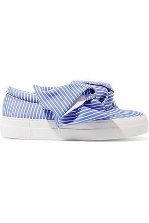 JOSHUA SANDERS Ruffled satin slip-on sneakers