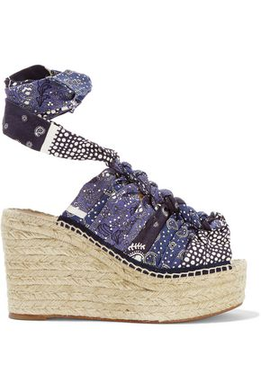 CHLOÉ Printed canvas espadrille wedge sandals