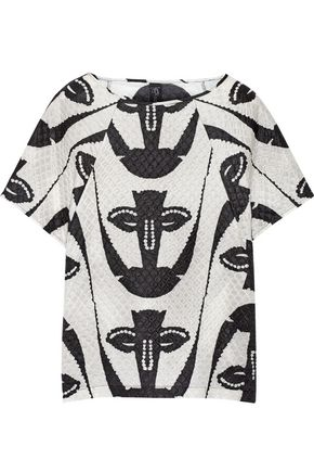 ZERO + MARIA CORNEJO Tabi embossed printed silk-blend top