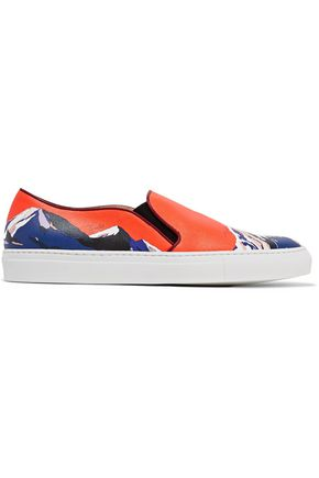 EMILIO PUCCI Printed textured-leather slip-on sneakers