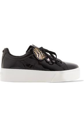 KENZO Rubber-trimmed patent-leather platform sneakers
