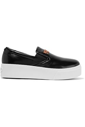 KENZO Basket embellished glossed-leather platform slip-on sneakers