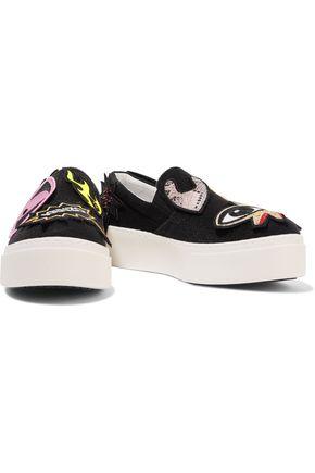 KENZO Appliquéd terry slip-on sneakers