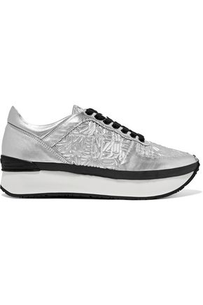KENZO Basket metallic embossed and smooth leather platform sneakers
