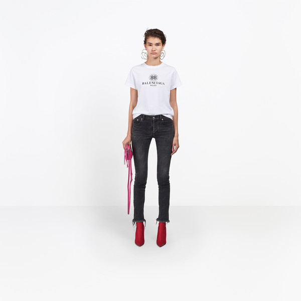 Distressed Logo Skinny Jeans