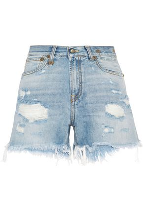 R13 Distressed faded denim shorts