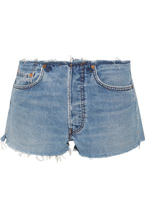 RE/DONE by LEVI'S Distressed faded denim shorts