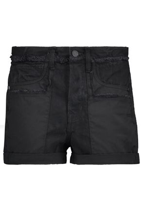 HELMUT LANG Frayed poplin-paneled denim shorts