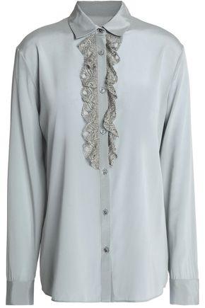 MISSONI Metallic crochet-trimmed silk-blend crepe de chine shirt
