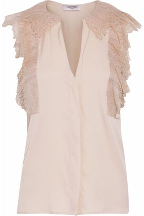 VALENTINO Chantilly lace-paneled silk-blend twill top