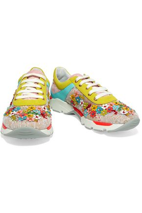RENE' CAOVILLA Embellished color-block lace and leather sneakers