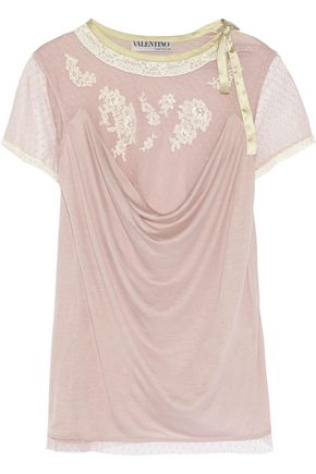 VALENTINO Lace-trimmed point d'esprit and jersey top