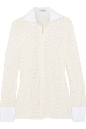VALENTINO Poplin-trimmed cotton-lace shirt