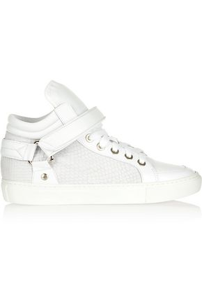 MAJE Croc effect-paneled leather high-top sneakers