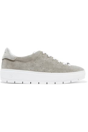 RAG & BONE Perforated suede platform sneakers