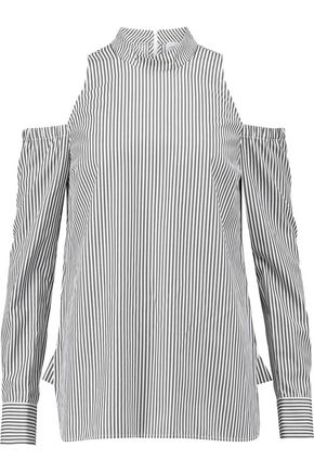 REBECCA VALLANCE Cold-shoulder striped cotton-blend poplin top