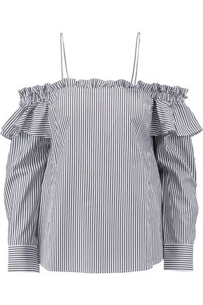 REBECCA VALLANCE Cold-shoulder ruffled striped cotton-blend poplin top