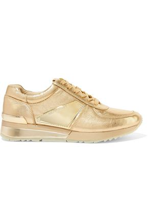 MICHAEL MICHAEL KORS Allie metallic leather and patent-leather sneakers