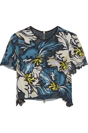 ERDEM Emiko embroidered silk-organza top