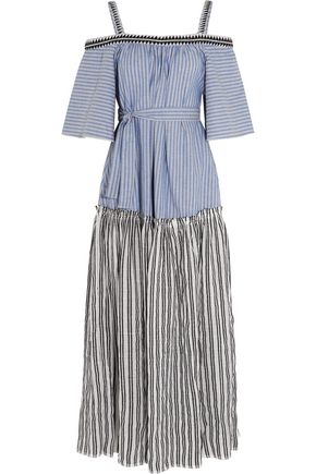 LEMLEM Amara embroidered striped cotton maxi dress
