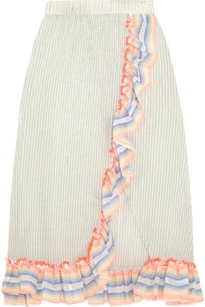MASTER&MUSE x LEMLEM Afia ruffled striped cotton-blend gauze skirt