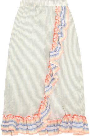 MASTER&MUSE x LEMLEM Afia ruffled striped cotton-blend gauze skirt