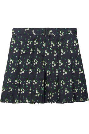 A.P.C. Soho pleated printed silk-twill shorts