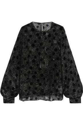 SAINT LAURENT Metallic devoré chiffon blouse