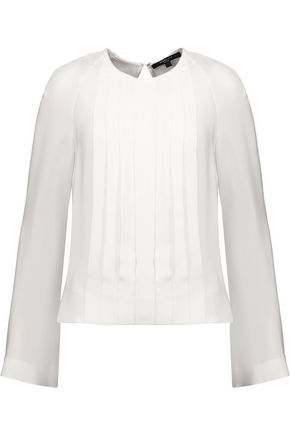 DEREK LAM Pleated silk crepe de chine blouse