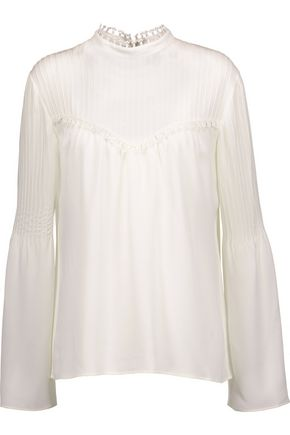 DEREK LAM Pintucked silk-georgette top