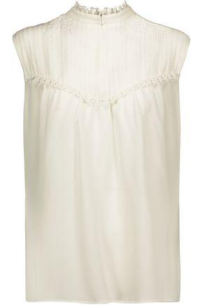 DEREK LAM Pintucked silk-crepe top