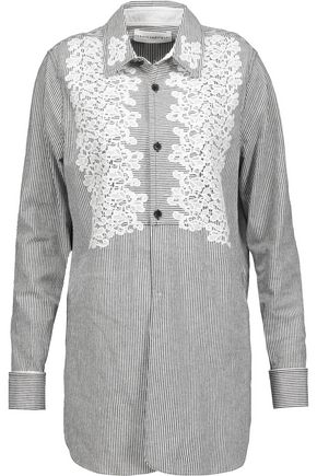ROBERT RODRIGUEZ Lace-trimmed striped cotton-blend shirt